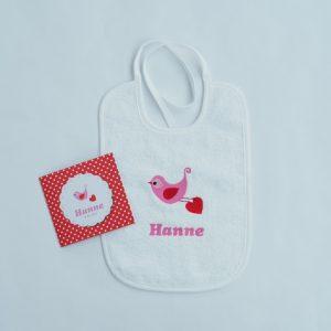 Witte Slab met lintjes - volgens geboortekaartje Hanne