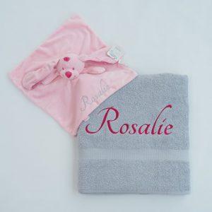 Zilvergrijs douchelaken en tutdoekje Rosalie