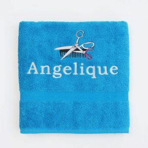 Kobaltblauw douchelaken Angelique met kam en schaar