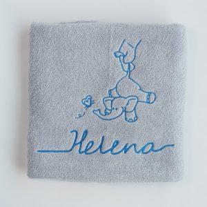 Zilvergrijze handdoek met olifantje