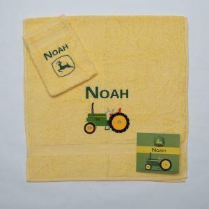 Handdoek en washand - traktor en logo John Deere