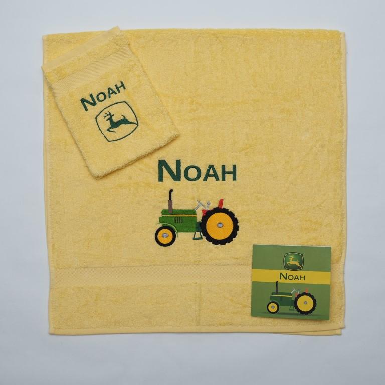 Handdoek en washand - traktor Fendt en John Deer
