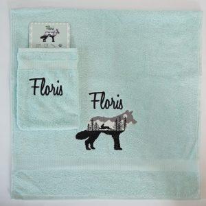 Mint handdoek en washand Floris