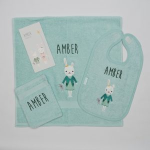 Handdoek, washandje en slab met konijn - Amber