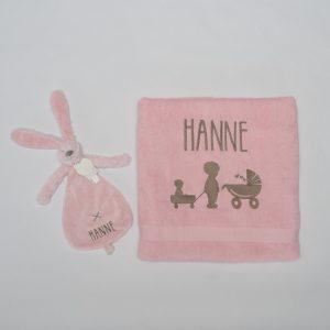Geboorteset Hanne - lichtroos douchelaken en lichtroos Happy Horse knuffeldoekje Konijn