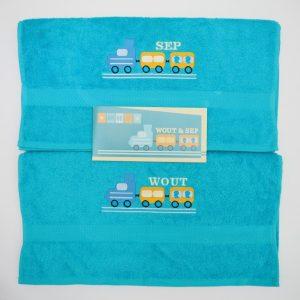 Handdoek met trein Sep en Wout